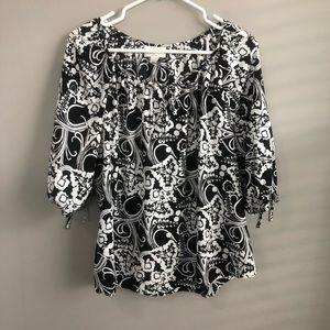 Loft Black & White Floral 3/4 Sleeve XLP